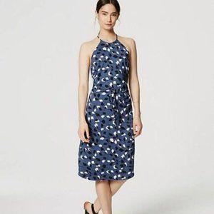 LOFT Blue Floral Vine Halter Midi Dress NEW!